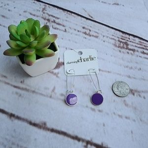 Charming Charlie Purple Enamel Dangle Earrings